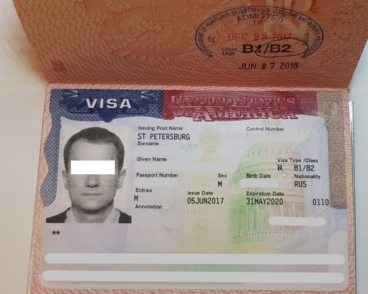 An example of an American visa