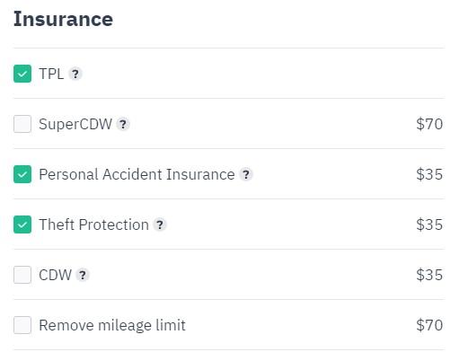 Myrentacar insurance